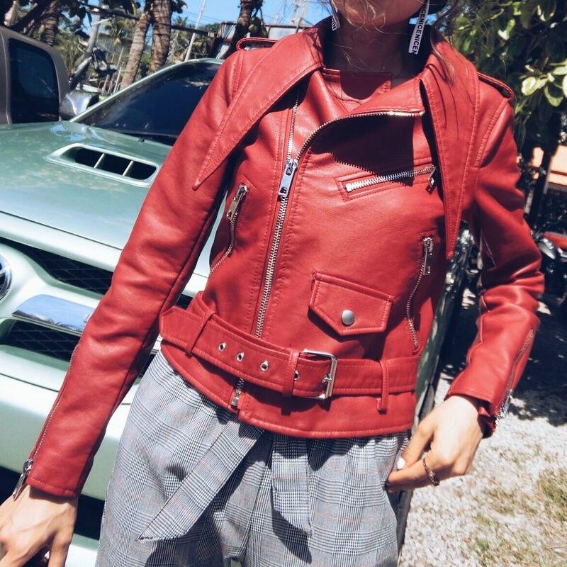 2018 Neue Heiße Frauen Herbst Winter Motorrad Kunstleder Jacken Lady Biker Pu Reißverschlüsse Oberbekleidung Mantel Mit Gürtel Tropfenverschiffen