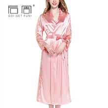 New Satin Robe Kimono Robes for Women Long Female Silk Robe Pyjamas Women Gown Bride Women's Robes Bathrobe Loose Home Clothing(China)