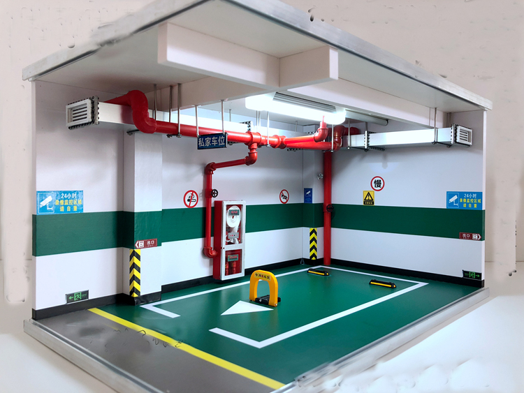 1:18 Alloy Model Car Simulation Underground Garage Parking Lot Space Children's Toys Scene Display