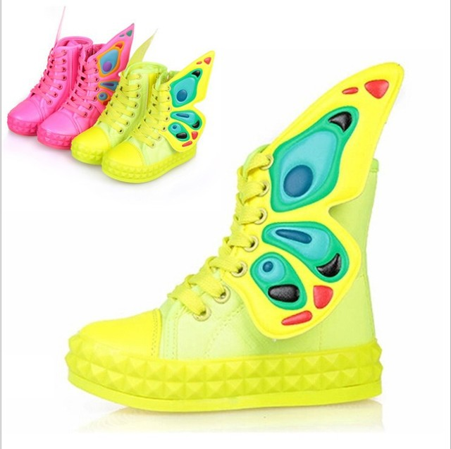 2016 New Children's Shoes Spring Autumn Kids Boys Girls Fashion Zipper Lace-UP Breathable Sneakers With Butterfly Wings