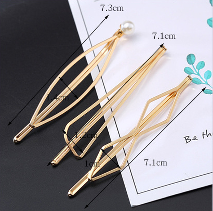 1Pcs Korea Simple Metal Hair Clips for Women Geometric Rhombus Gold Silver Color Hairpins Hair Accessories