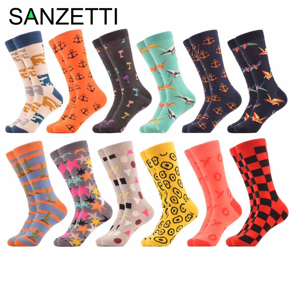 SANZETTI 12 pairs/lot Mens Colorful Combed Cotton Skateboard Socks Casual Dress Breathable Funny Socks Novelty Street Wear