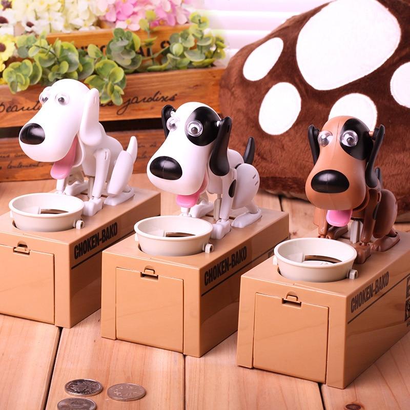 1pcs Cute Cartoon Eat Money Dog Money Box Coin Bank Supply Dog Piggy Bank   Novelty & Gag Toys For Children Kids Gifts