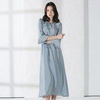 Silk Dress Pure Color Waist Summer New Mulberry Silk 100 Fashion Dress Women 2019 O Neck Flare Sleeve Dress Women