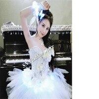 DC96 Ballroom dance led light costumes tutu dresses stage show wears catwalk club models performance skirt dj party clothes bra