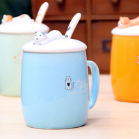 Creative Ceramic Mugs With Lid Funny Coffee Cups And Mugs Cats For Girls Travel Coffee Tea Cup Tumbler Moomin Children Cup