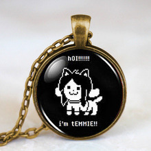 2017 New Undertale Temmie Pendant Game Gaming Men Necklace Silver Steampunk Picture Jewelry Gifts Round Glass Dome Pendants HZ1