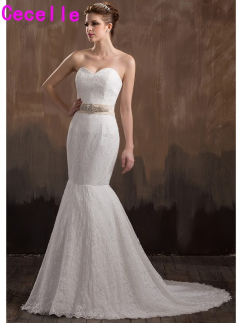 Simple Long Mermaid Vintage Lace Wedding Dresses With Champagne Sash ...