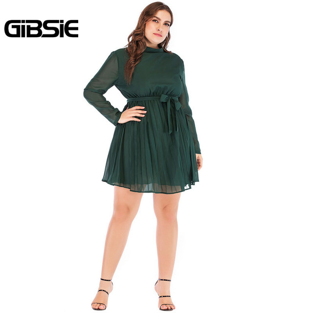 GIBSIE 5XL 4XL Plus Size Women Elegant Office Lady Spring Dress 2019 Solid Stand Collar Long Sleeve Chiffon Pleated Mini Dress 5