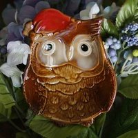 Multicolour Glaze Ceramic Decoration Crafts Red Hat Owl Ashtray Plate , Home Table Decor