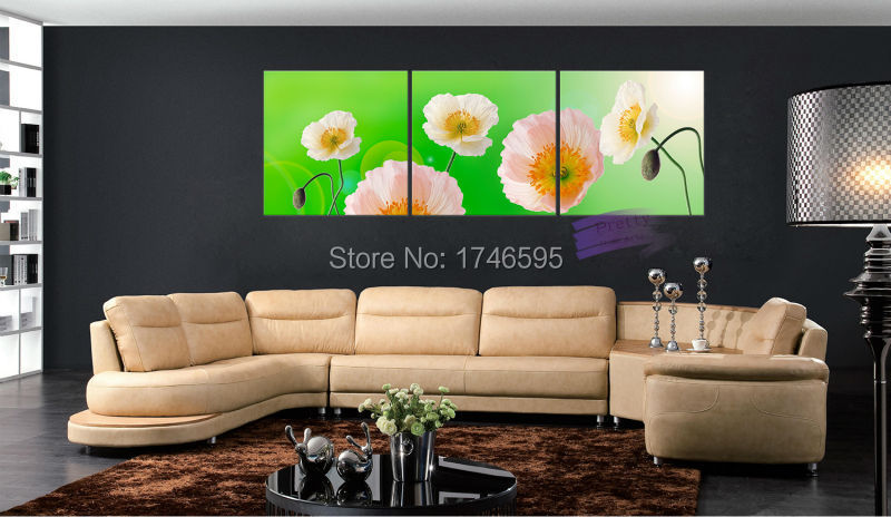 3pcs Big Size Abstract Living Room Home Decor Green Orange White Corn Poppy Flower Canvas Wall