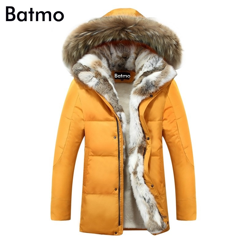 Batmo 2017 winter duck down jacket men coat parkas Wool Liner male Warm Clothes Rabbit fur collar High Quality,PLUS-SIZE S-5XL