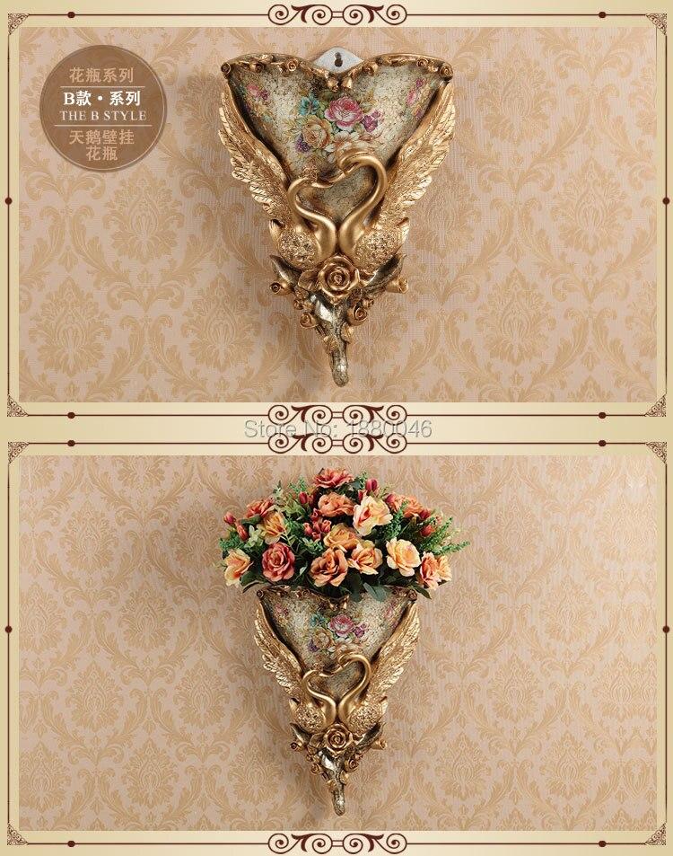 Nova marca europeia resina pavão vaso cesta de flores retro mural parede quarto sala estar decoração pingente - 2