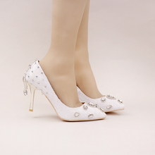 2016 New Style White Lace Bridal Shoes Rhinestone High Heel Wedding Party Shoes Pointed Toe Formal Dress Shoes Women Pumps