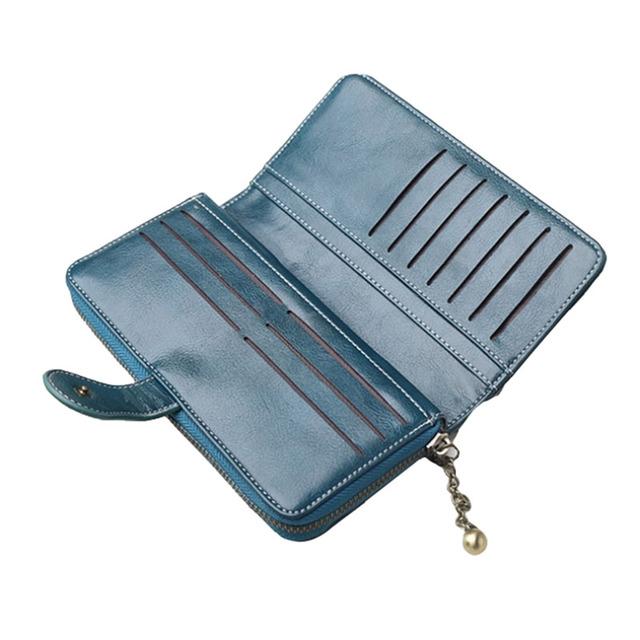 Nuevas carteras de gran capacidad para mujer monederos billeteras de cuero Split bolso de mano con cremallera para mujer titular de la
