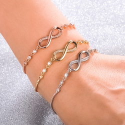 Wholesale 3 color Fashion 8 word bracelet crystal from Swarovskis micro inlaid zircon adjustable bracelet for woman gift