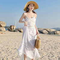 スパゲッティストラップ背中夏ボヘミアンビーチドレス帝国セクシーな女性のドレス純粋な色 A ラインホワイト Vestidos Verano に 2019