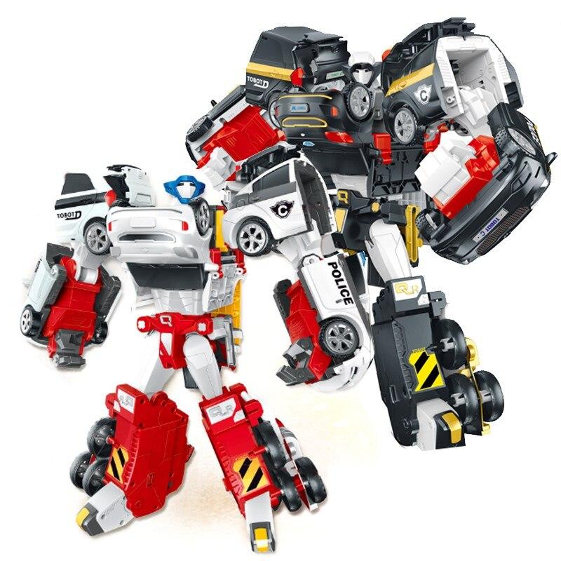 New Kids Toys Big Size 35CM 4 In 1 Tobot Transformation Robot 4 Car Merge Deformation