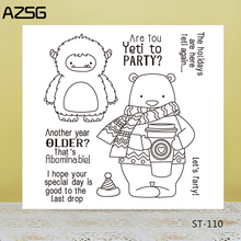 AZSG Cartoon Cute Scarf Bear Wild Man Clear Stamps/Seals For DIY Scrapbooking/Card Making/Album Decorative Silicone Stamp Crafts