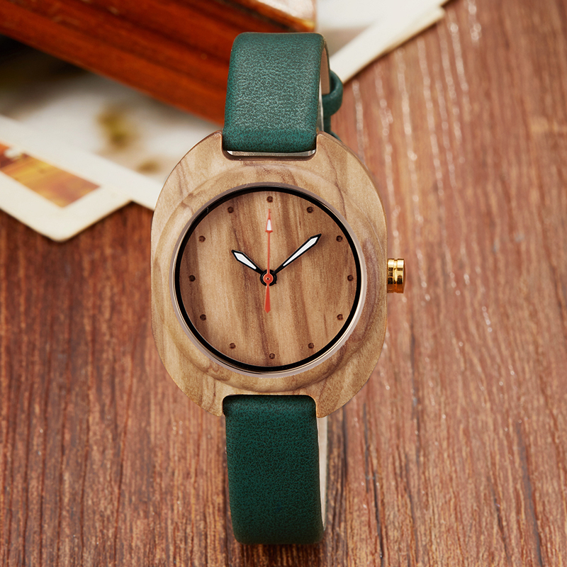Ladies Wood Watch Female Bracelet Wrist Watches Wooden Case Leather Strap Retro Women Small Wristwatch Reloj De Mujer De Mader