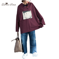 BelineRosa Women S Winter Clothes European Fashion Appliques And Hole Long Sleeve Hooded Collar Pure Cotton