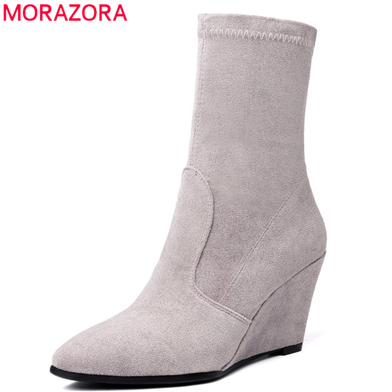 MORAZORA 2018 new fashion style ankle boots for women pointed toe autumn winter boots slip on comfortable wedges shoes woman xiu xian warm plush winter ankle boots for women slip on comfortable lady shoe 2017 new fashion casual young style handsome girl