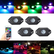 8PCS / 4PCS RGB LED Multi-Color Offroad Rock Lights LAMP Wireless Bluetooth Truck Car Wrangler boat