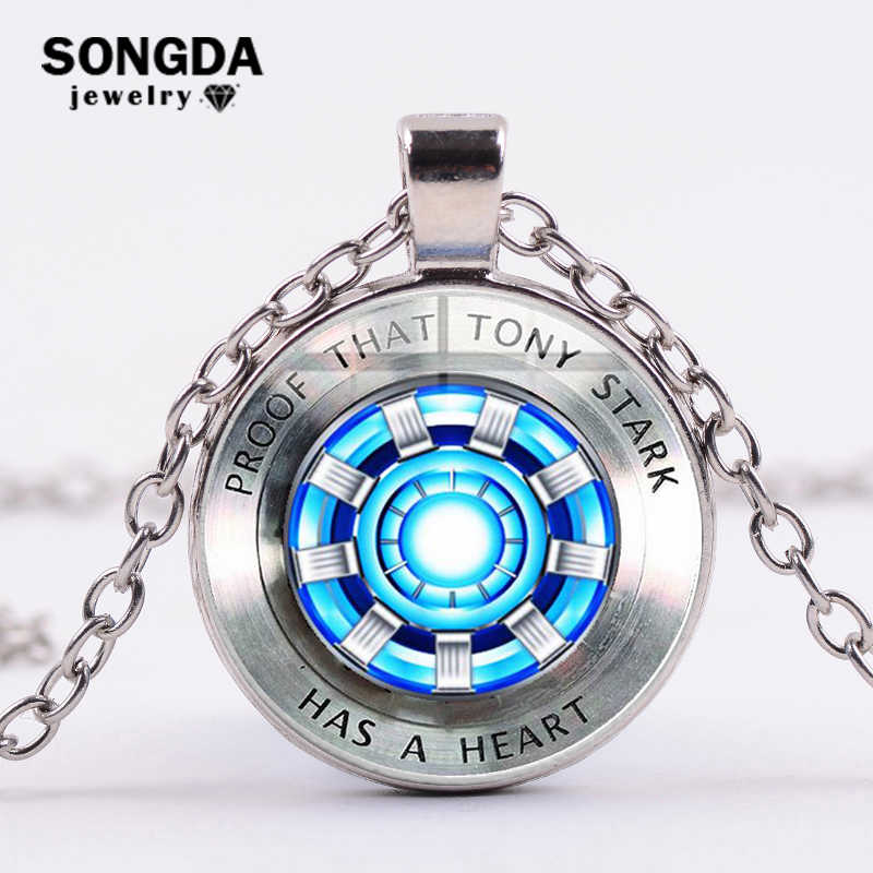 SONGDA Avengers Iron Man Tony Stark Arc Reactor Necklace 3D Print Glass Pendant Silver Plated Long Necklace Marvel Fans Souvenir