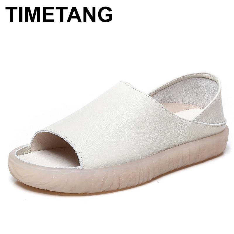 TIMETANG Women s Sandals 2018 Summer Genuine Leather Handmade Ladies Shoe Leather Sandals Women Flats Retro