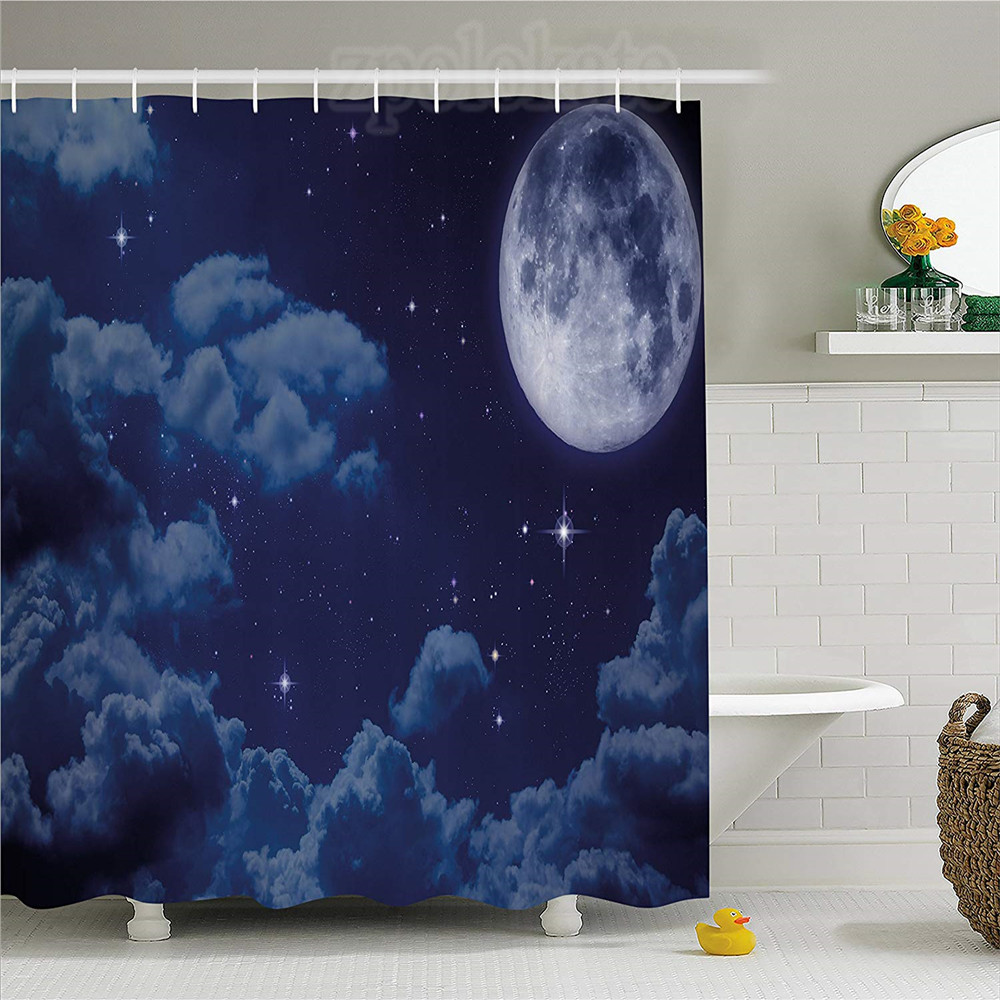 Night Sky Shower Curtain Cartoon Anime Scene Inspired Full Moon Lunar Clouds And Stars Artwork Fabric Bathroom Decor Set With