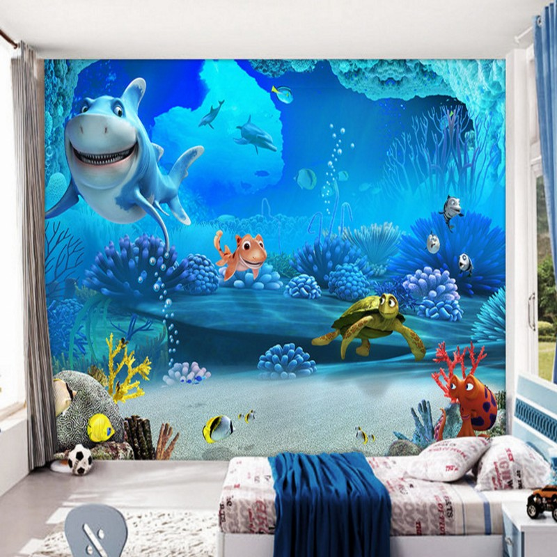 wallpaper 3d high definition Beautiful blue underwater world Mural Wallpaper children 's room decoration backdrop book knowledge power channel creative 3d large mural wallpaper 3d bedroom living room tv backdrop painting wallpaper