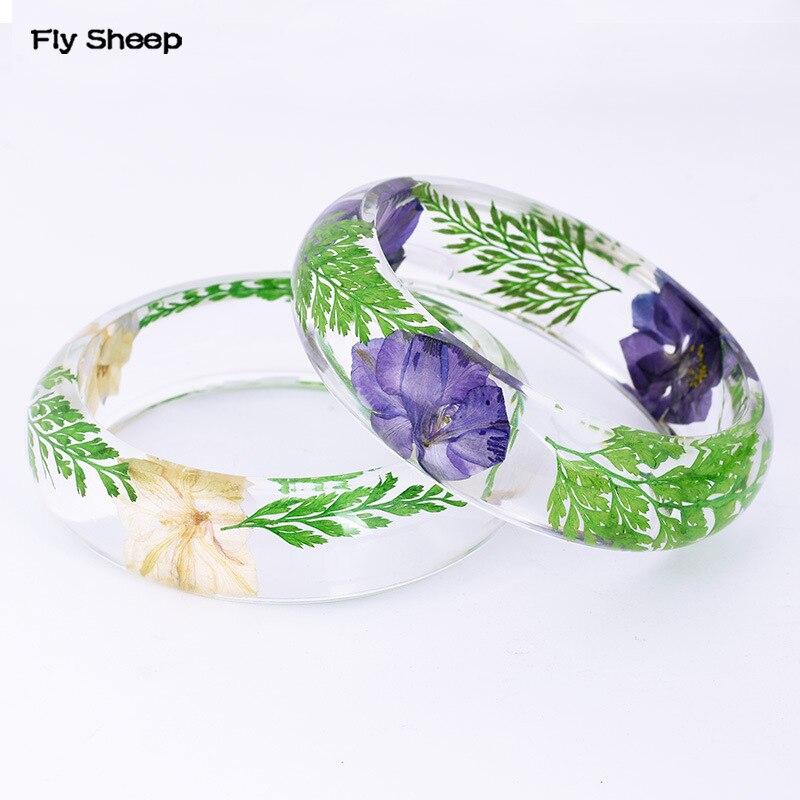 Transparent Epoxy Resin Bracelet Bangle Natural Dried Flower Bangles Summer Popular Fresh Harmless Jewelry