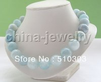 AAAA 18 100% natural 18 mm perfect blue stone necklace