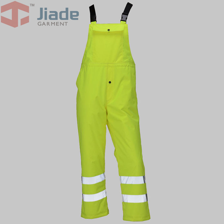 Jiade Adult High Visibility Winter Bib Pant Men's Work Reflective Winter Bib Pant fluorescence yellow high visibility