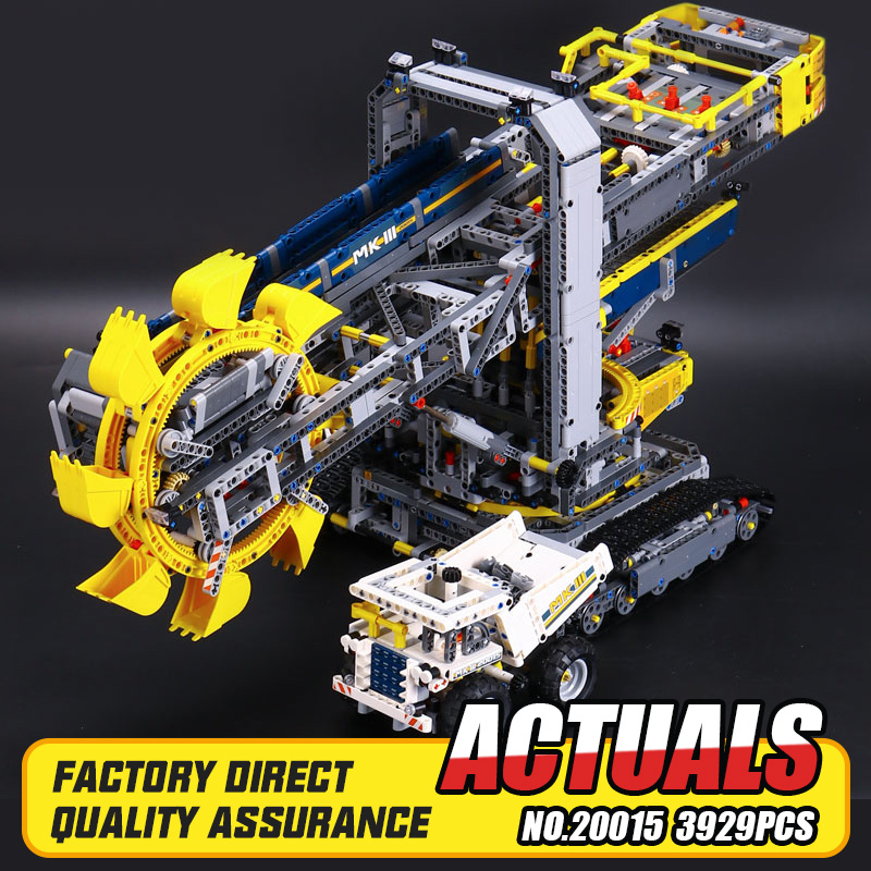 2016 New LEPIN 20015 3929Pcs Technic Bucket Wheel Excavator Model Building Kit Blocks Brick Compatible Toy Gift 42055