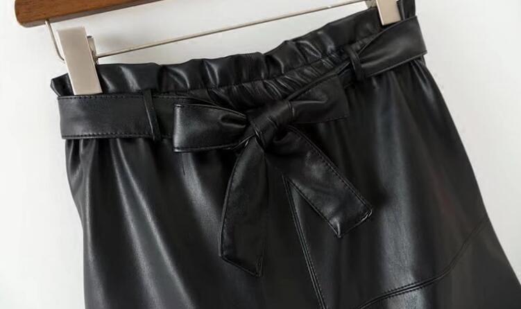Midi Ocasional Cinturón Pu Longitud Nuevo Encaje Negro Venta Faldas De Imperio La Hembra Vestido Mujer Caliente Sólido Saia Falda 2018 Rodilla gAwXPfqxS
