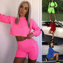 2019 Spring Summer Tracksuits women Suits Sets Fashion Solid Women Costume Sports 2-pieces (t-shirts+Shorts) Suit Set Female(China)
