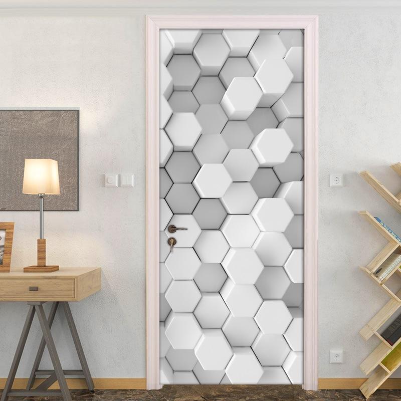 3D Creative White Geometric Lattice Modern Living Room Study Bedroom Door Decoration Sticker Wall Paper Mural PVC Self-adhesive