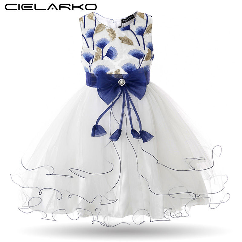 Cielarko Girls Dress Gingko Broderi Barn Fest Kjoler Baby Bryllup Ball Kjoler Mesh Kids Prom Frocks Vestidos for Girl