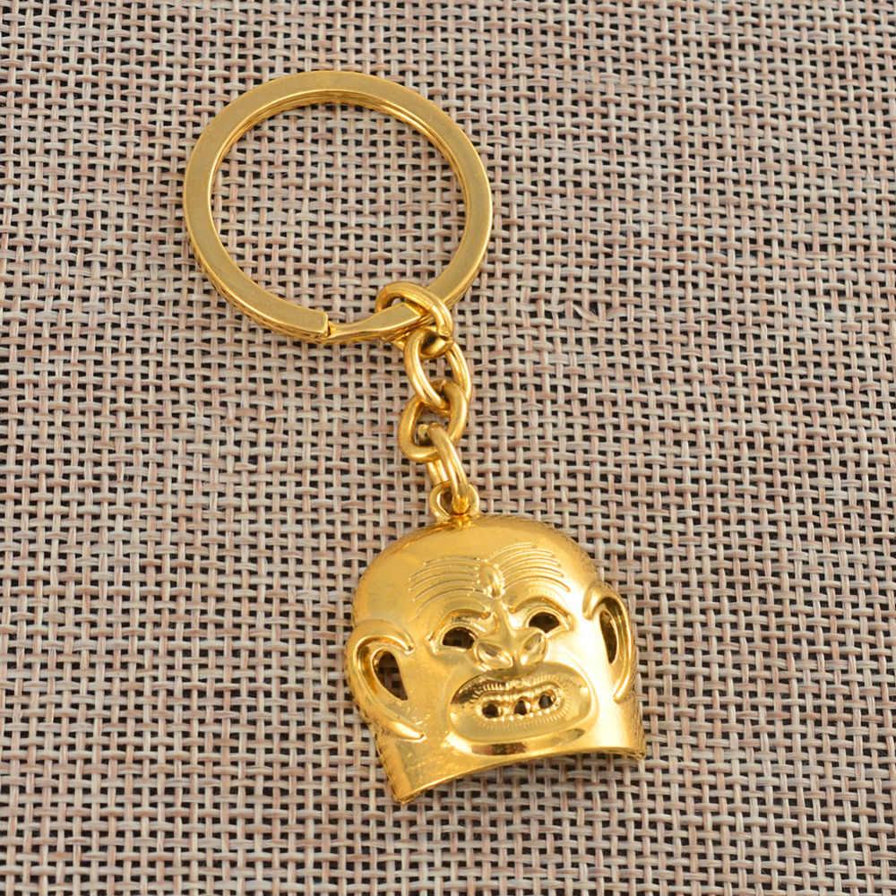 Anniyo PNG maska breloczki złoty kolor biżuteria dla kobiet mężczyzn, papua-nowa gwinea brelok prezent #155406