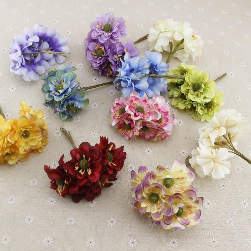 6pcs Carnation Fake Flower Silk Cheap Artificial Flowers For Home