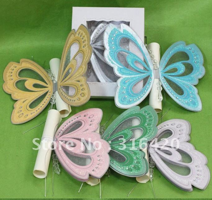 Hot sale butterfly shape wedding invitation card with handmade – Butterfly Wedding Invite