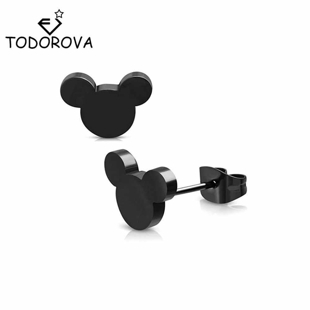 Todorova Mini Mouse Earing Tiny Mickey Earrings for Women Kids Earring Small Animal Ear Studs Pendientes Cartoon Movie Jewelry