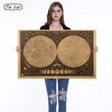 1 ud. Póster Vintage globo mapa del mundo luna Lunar cartel adhesivo con diseño de mapa para pared papel tapiz carteles artísticos