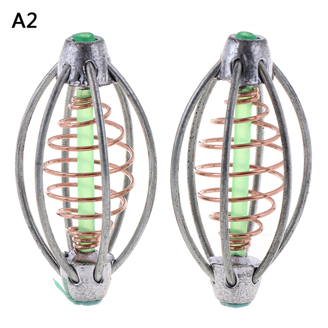 2pcs//pack Carp Fishing Feeder Lead Sinker Fishing Bait Cage Spring with Lead Thrower