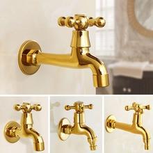 Golden Luxury Wall Mount Decorative Outdoor Garden Faucet Washing Machine Faucet Bathroom Mop Faucet Bibcock Tap KD062