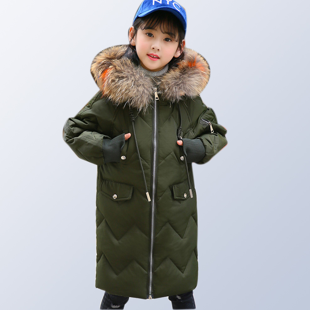 Children Winter Coat and Jackets Teenage Girls Clothing 2018 Brand Kids Fur Collar Warm Thick Hood Long Down Parka 10 12 14 Year arbitmatch fashion warm winter 2017 womens down jackets brands hood thick long female down coat zipper windproof parka outwear