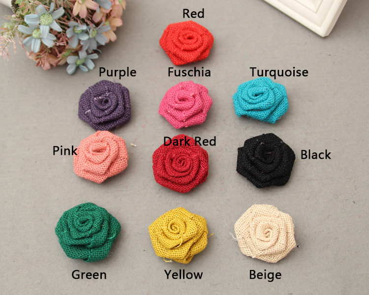 Antique Burlap Small Rose Flowe For DIY Wedding Event & Party Headwear Brooch Decoration Craft 5 pcs/lot
