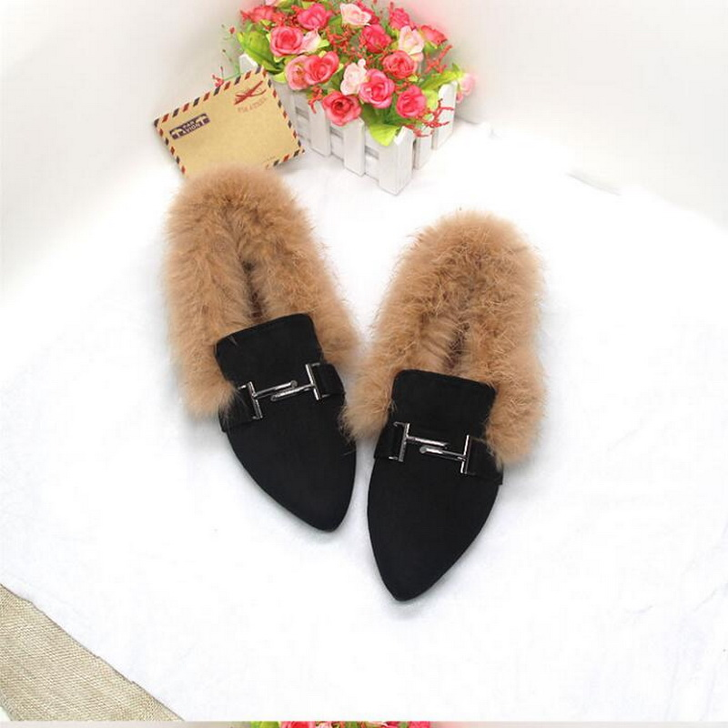 flat plus velvet rabbit hair shoes 2018 winter new cotton shoes Pointed Toe student Flat Ankle Boots Female Fashion Comfort Warm