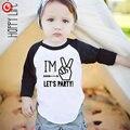 Niños Cumpleaños Número camiseta Niños Niñas de Algodón de Manga Larga T-shirt Ropa 1-4Y Bebé camiseta de La Manera Ropa Tee